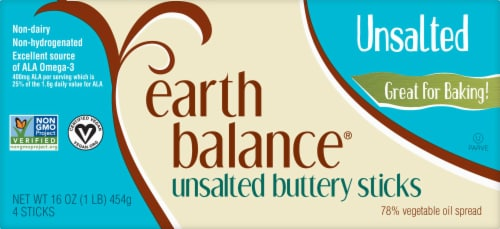 Earth Balance Ulsalted Buttery Sticks Perspective: front