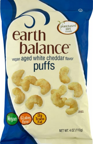 Earth Balance Vegan Aged White Cheddar Flavor Puffs Perspective: front