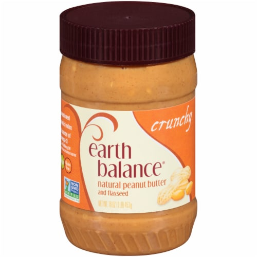 Earth Balance Crunchy Natural Peanut Butter and Flaxseed Perspective: front