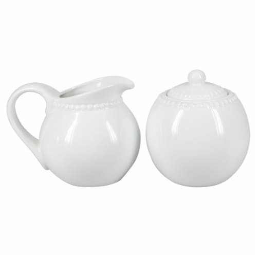 BIA Cordon Bleu Porcelain Beaded Covered Sugar Bowl and Creamer Set Perspective: front