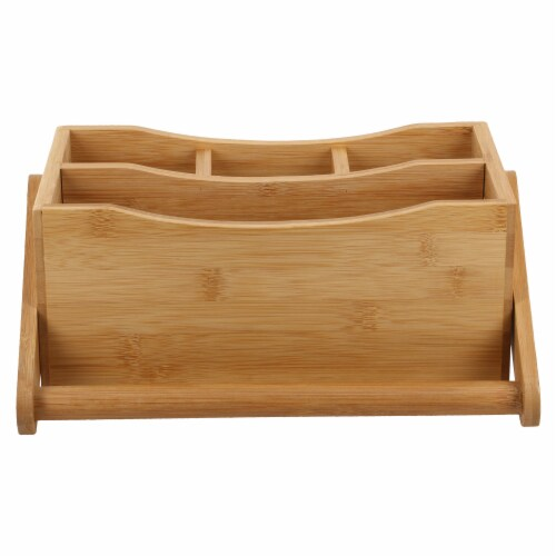 Natural Living Bamboo 4-section Flatware Caddy with Handle Perspective: front