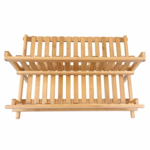 BIA Cordon Bleu Danesco Collapsible Bamboo Dish Rack Perspective: front