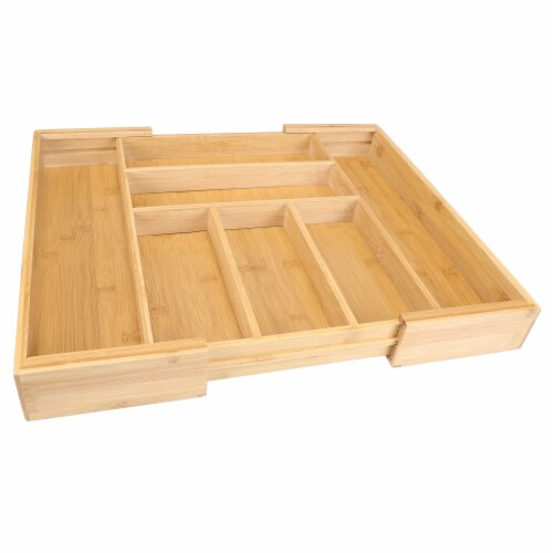 Danesco Eco-friendly Bamboo Expandable Drawer Organizer Perspective: front