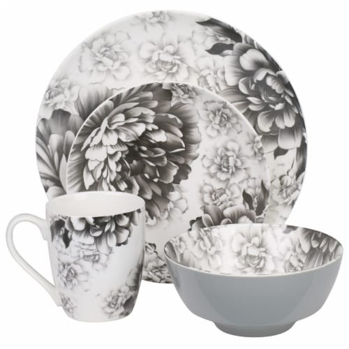BIA Cordon Bleu Peony Dinnerware Place Set - Gray Perspective: front