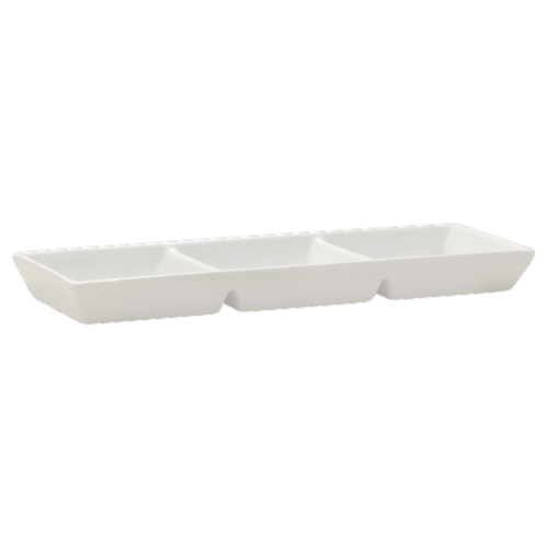 Dash of That™ 3-Section Divided Serving Tray - White Perspective: front