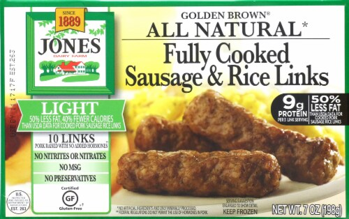 Jones Dairy Farm Golden Brown Light Fully Cooked Sausage Links Perspective: front
