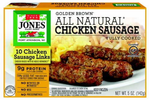 Jones Dairy Farm Golden Brown All Natural Chicken Sausage Links Perspective: front