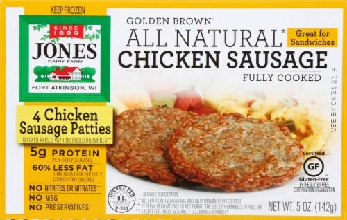 Jones Golden Brown Fully Cooked Chicken Sausage Patties 4 Count Perspective: front