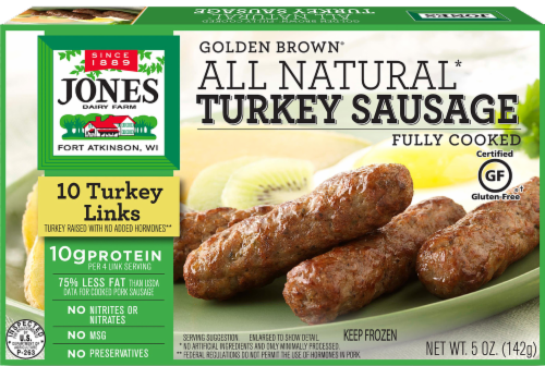 Jones Dairy Farm Golden Brown All Natural Turkey Sausage Links Perspective: front