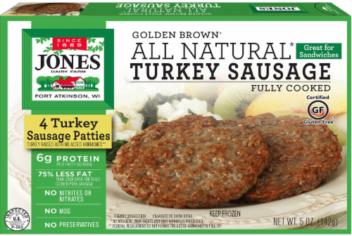 Jones Dairy Farm Golden Brown Fully Cooked Turkey Sausage Patties Perspective: front