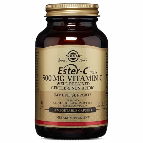 Solgar Ester-C+-500mg Capsules Perspective: front