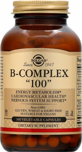 Solgar B-complex 100 Capsules Perspective: front