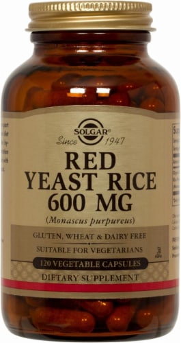 Solgar Red Yeast Rice 600 mg Dietary Supplement Capsules Perspective: front