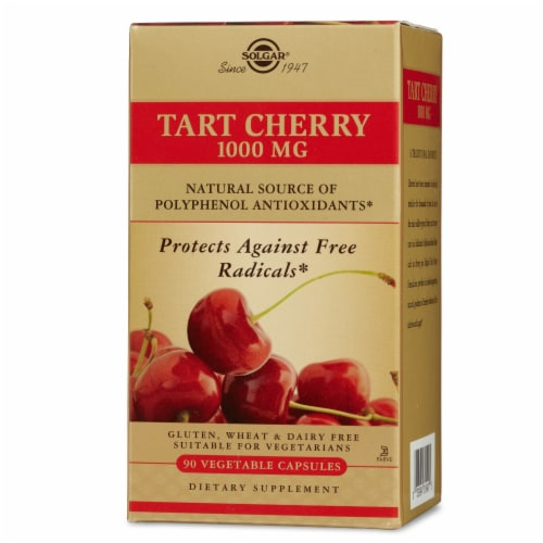 Solgar Tart Cherry 1000 MG Vegetable Capsules Perspective: front
