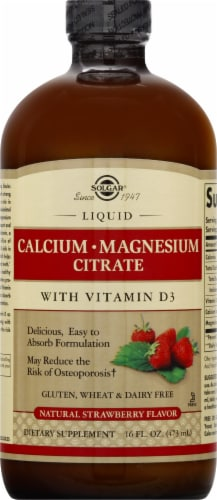 Solgar Natural Strawberry Flavor Calcium Magnesium Citrate with Vitamin D3 Liquid Perspective: front