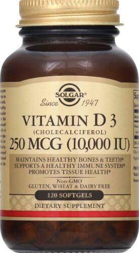 Solgar Vitamin D3 10000 IU Dietary Supplement Softgels Perspective: front