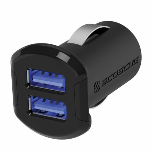 Scosche ReVOLT Dual 12-Watt USB Car Charger with Illuminated Ports - Black Perspective: front