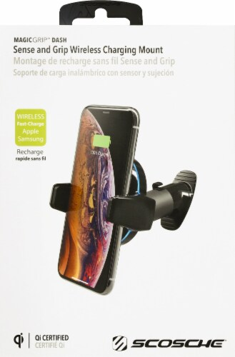 Scosche MagicGrip Sense and Grip Qi-Certified Wireless Adhesive Charging Dash Mount - Black Perspective: front
