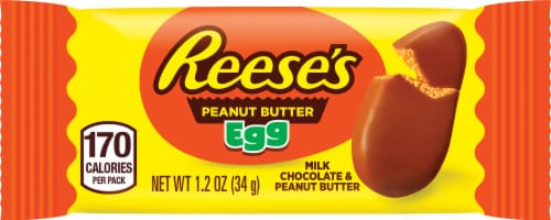 Reese's Easter Milk Chocolate Peanut Butter Egg Perspective: front