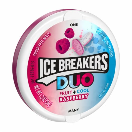 Ice Breakers Duo Fruit + Cool Raspberry Flavored Mints Perspective: front
