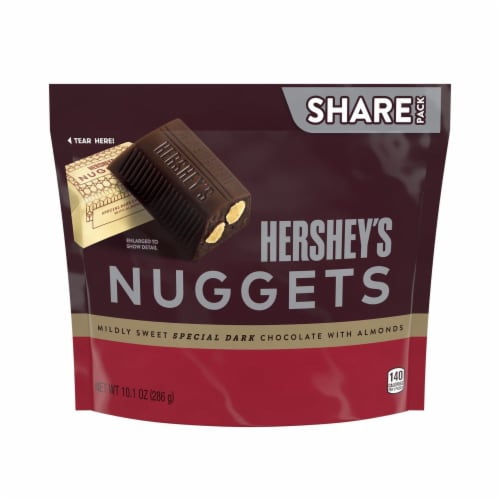 Hershey's Special Dark Mildly Sweet Chocolate Nuggets with Almonds Perspective: front