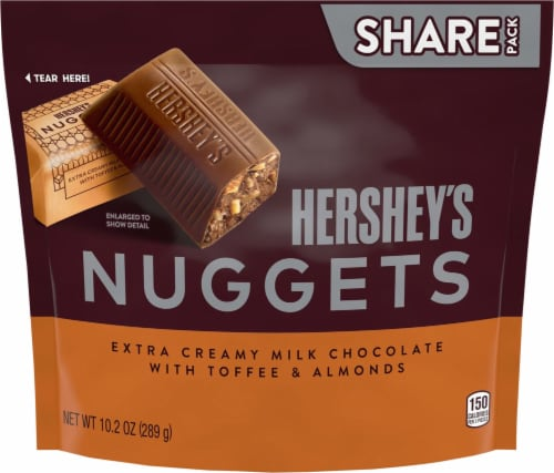 Hershey's Extra Creamy Milk Chocolate Nuggets with Toffee & Almonds Perspective: front