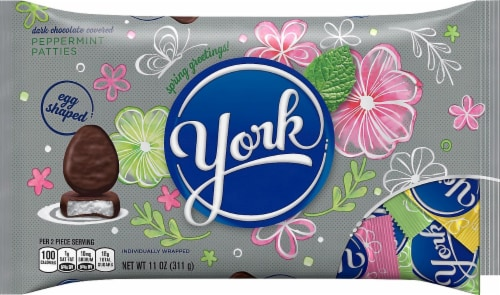 York Dark Chocolate Covered Peppermint Patties Eggs Perspective: front