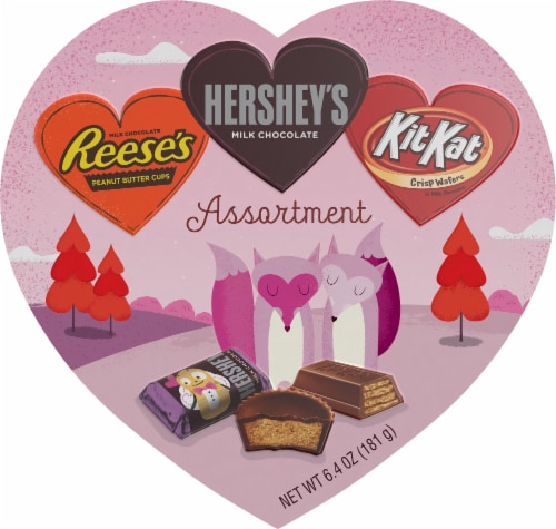 Hershey Valentine's Miniatures Candy Assortment Milk Chocolate Heart Box Perspective: front