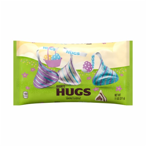 Hershey's Hugs Milk Chocolate White Creme Candy Perspective: front
