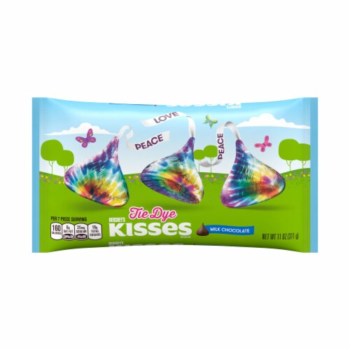 HERSHEY'S KISSES Milk Chocolate Candy with Tie Dye Foils Perspective: front