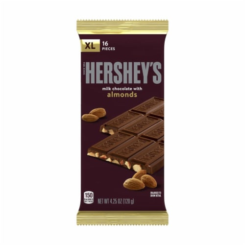 Hershey's Milk Chocolate with Almonds Extra Large Bar Perspective: front