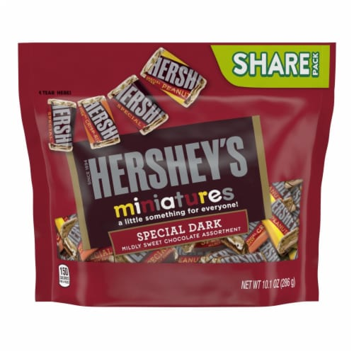 Hershey's Miniatures Special Dark Mildly Sweet Chocolate Candy Assortment Share Pack Perspective: front