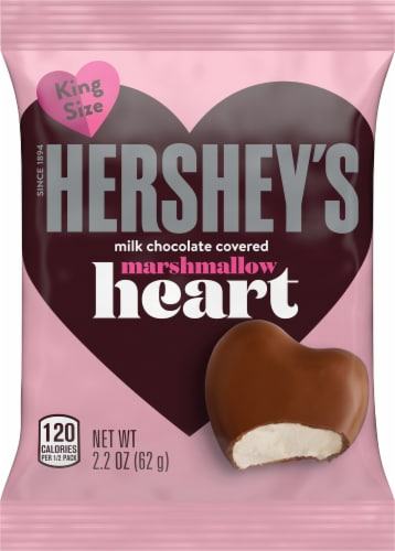 Hershey's Valentine's Milk Chocolate Covered Marshmallow Heart Candy King Size Perspective: front