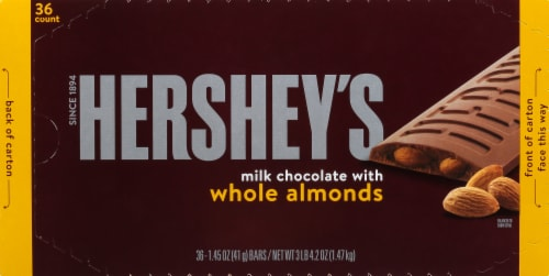 Hershey's Milk Chocolate with Almonds Bar Perspective: front