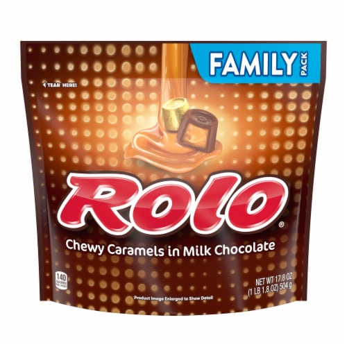 Rolo Chewy Caramels in Milk Chocolate Family Pack Perspective: front
