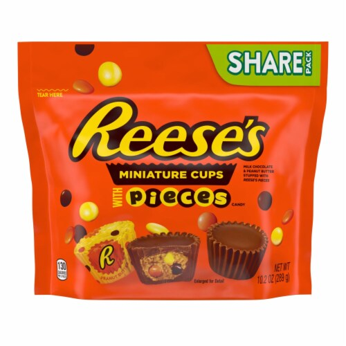 Reese's Miniatures Peanut Butter Cups Stuffed with Reese's PIECES Minis Candy Perspective: front