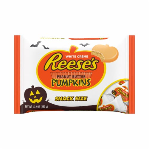 REESE'S Snack Size Orange-Colored Peanut Butter Pumpkins Halloween Candy Perspective: front