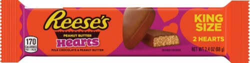 Reese's Valentine's Peanut Butter Hearts Candy King Size Perspective: front