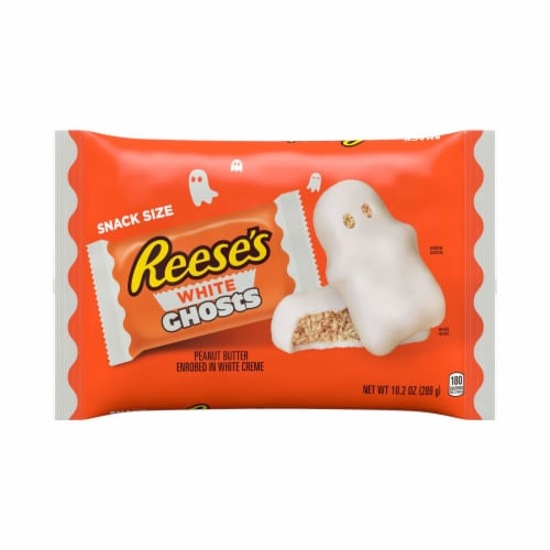 Reese's Halloween White Creme Peanut Butter Cup Ghost Snack Size Candy Perspective: front