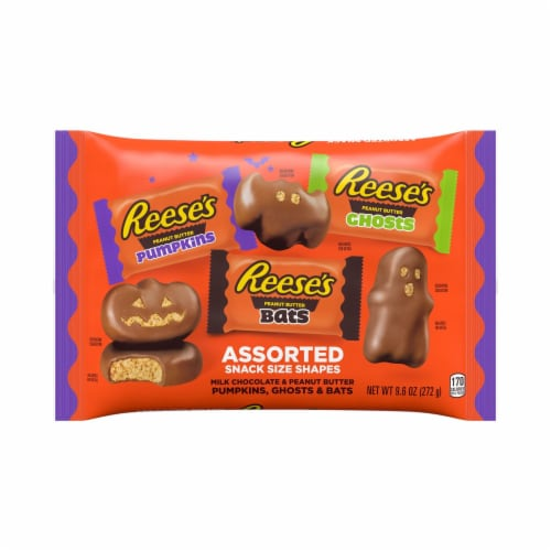 Reese's Milk Chocolate Peanut Butter Assorted Halloween Shapes Perspective: front