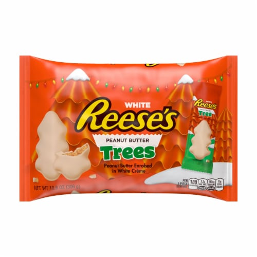Reese's White Creme Peanut Butter Trees Holiday Candy Perspective: front