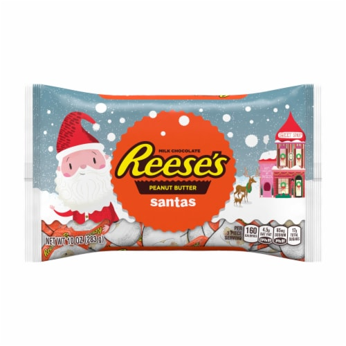 Reese's Milk Chocolate Peanut Butter Santas Holiday Candy Perspective: front