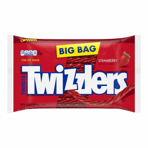 Twizzlers Strawberry Twists Licorice Candy Big Bag Perspective: front