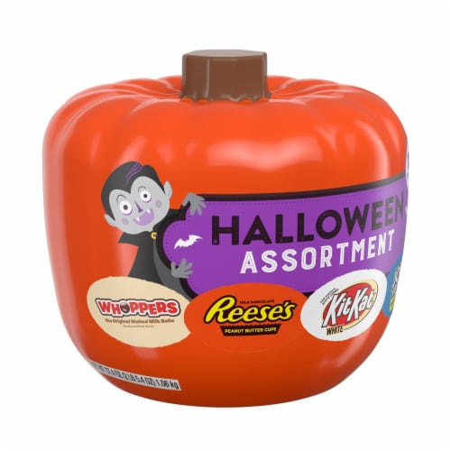 Hershey's Assorted Pumpkin Bowl Miniatures Candy Halloween Assortment Perspective: front