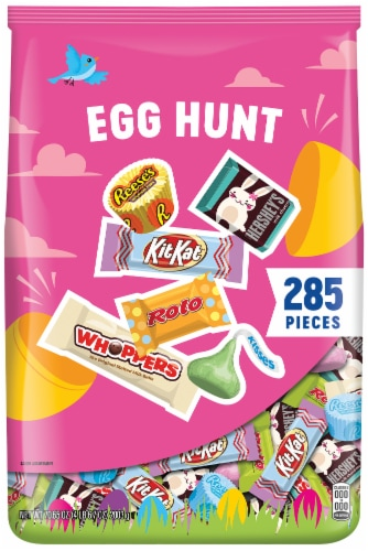 Hershey's Rolo Whopper Kit Kat Reese's Kisses Assorted Easter Egg Hunt Candy Perspective: front