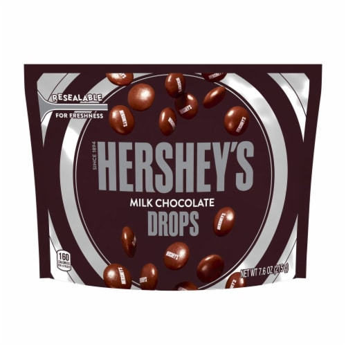 Hershey's Milk Chocolate Drops Pouch Perspective: front