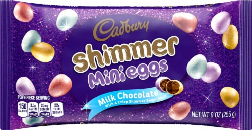Cadbury Shimmer Mini Eggs Milk Chocolate Candy Perspective: front