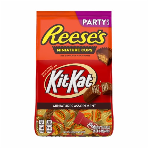 Reese's and Kit Kat Milk Chocolate Candy Miniatures Assortment Party Pack Perspective: front
