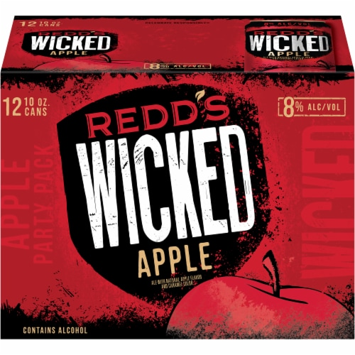 Redd's Wicked Apple Golden Ale Beer 12 Cans Perspective: front