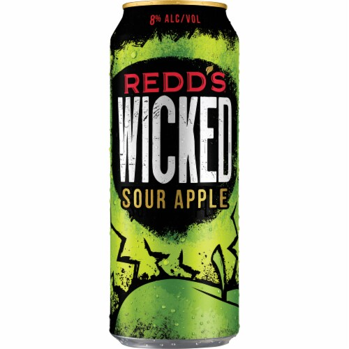 Redd's Wicked Limited Release Sour Apple Golden Ale Beer Perspective: front